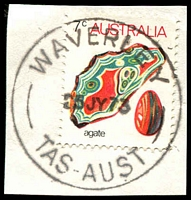 Lot 2161:Waverley: - 'WAVERLEY/25JY73/TAS-AUST' on 7c Agate.  PO 1/2/1957; closed 30/11/1979.