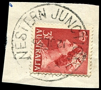 Lot 1601:Western Junction: - 'WESTERN JUNCTION/12JL55/TAS.' (inverted dateline) on 3½d red QEII.  Renamed from Evandale Junction PO 1/5/1913; closed 31/10/1979.