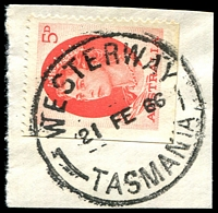 Lot 9955:Westerway: - 'WESTERWAY/21 FE 66/TASMANIA' (spaced dateline) on 5d red QEII.  Renamed from Russell PO 5/5/1919.