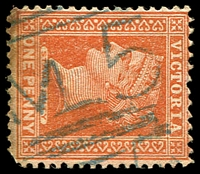 Lot 12626:1005: 'M5' in blue on 1d brown. [Rated S]  Allocated to Dooen-PO 1/9/1877; closed 30/6/1982.