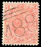 Lot 10978:1088: 'M88' on 1d pink.  Allocated to Clear Lake-PO 9/10/1878; closed 15/6/1977.