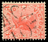 Lot 2001:1110: 'MC/10' on 1d pink. [Rated S]  Allocated to Tyrendarra-PO c.-/2/1879; LPO 5/1/1994; closed 30/6/2000.