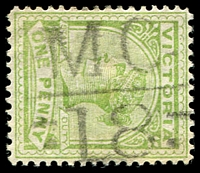 Lot 2149:1118: 'MC/18' on 1d green. [Rated SS]  Allocated to Doboobetic-PO c.-/5/1879; renamed Dooboobetic PO c.1890; RO c.1920; PO 1/7/1927; closed 28/2/1941.