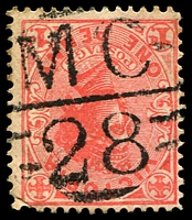Lot 12700:1128: 'MC/28' on 1d pink. [Rated S]  Allocated to Childers-PO 24/4/1879; closed 22/1/1972.