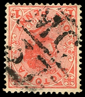 Lot 2156:1137: 'MC/37' on 1d pink. [Rated 2R]  Allocated to Arundel-PO 12/8/1879; renamed Laang PO 10/2/1945.