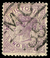 Lot 11010:1139: 'MC/39' on 2d violet. [Rated S]  Allocated to Quambatook-PO 1/9/1879; LPO 6/5/1993.