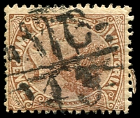 Lot 2157:1143: 'MC/43' on 2d brown. [Rated SS]  Allocated to Fern Hill-PO 9/9/1879; renamed St. Helier PO 1/8/1896; RO 31/8/1919; PO 1/7/1927; closed 31/12/1960.