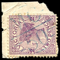Lot 2160:1150: 'MC/50' in blue on 2d violet.  Allocated to Jung Jung R.S.-PO 1/9/1879; renamed Jung Jung PO 1/5/1909.