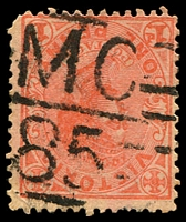 Lot 11035:1185: 'MC/85' on 1d pink.  Allocated to Gooram Gong-PO 5/6/1880; closed 30/11/1956.