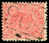 Lot 10895:904: '904' on 1d pink. [Rated R]  Allocated to Baarmutha-PO 1/10/1875; closed 19/11/1968.