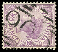 Lot 10896:905: '905' on 2d violet.  Allocated to Kinloch-PO 1/12/1875; renamed Tarkedia PO c.-/6/1877; renamed Kingumwill PO 1/8/1886; renamed Sheep Hills PO 1/9/1886; closed 30/6/1981.