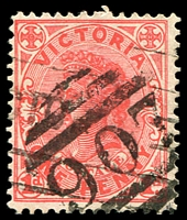 Lot 10899:907: 2nd type (figures 7mm high) on 1d pink. [Rated R]  Allocated to Panton Hill-PO 1/10/1875; LPO 8/7/1994.