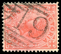Lot 10904:919: '919' 1st type (10mm high) on 1d pink. [Rated S]  Allocated to Myamyn-PO 24/11/1875; renamed Milltown PO 16/2/1891.