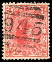 Lot 10911:945: right half of duplex '945' on 1d pink.  Allocated to Dergholm-PO 1/8/1876; LPO 28/6/1994.