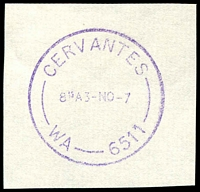 Lot 3407:Cervantes: - violet 'CERVANTES/815A3-NO-7/WA-6511' on piece.  PO 1/10/1980.
