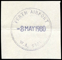Lot 3567:Perth Airport: - 35mm double-circle 'PERTH AIRPORT/8MAY1980/W.A. 6105' on piece. [Not recorded by PMI.]  PO 15/10/1962.