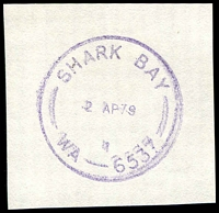 Lot 3593:Shark Bay: - violet 'SHARK BAY/2AP79/1/WA-6537' (Closing Day) on piece.  Renamed from Sharks Bay PO c.-/9/1920; renamed Denham PO 2/4/1979.