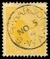 Lot 3622:Waroona: - framed 'S.B-WAROONA/NO5/4/W.A' on 2d yellow Swan.  PO 17/7/1899.