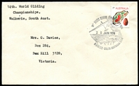 Lot 495:1974 14th World Gliding Championship pictorial cancel of Waikerie 25 JAN1974 tied 7c Agate on typed addressed cover.