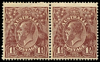 Lot 2411:1½d Brown Die I - BW #86(8)j,k [8L53-54] pair, unit 53 with no top to crown & unit 54 with no top to crown, Cat $120.