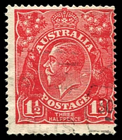 Lot 681:1½d Red Die I - BW #90(17)q [17R24] Series of white flaws diagonally from behind kangaroo's head to behind King's neck - ACCC State I, Cat $150.