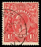 Lot 682:1½d Red Die I - BW #90(17)t [17R28] Notched NW corner Cat $90, few light toned perfs.