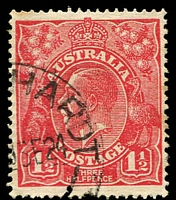 Lot 684:1½d Red Die I - BW #90(17)vc [17R49] Large white flaw on King's neck, Cat $90, couple of toned perfs.