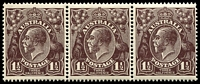 Lot 233:1½d Black-Brown Die I - [2R21-23] strip of 3, unit 22 with white flaw in front of King's beard, unit 22 MLH, units 21 & 23 MUH.