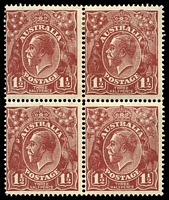 Lot 1273:1½d Brown Die I - [12R25-26, 31-32] block of 4, unit 25 with Notch in bottom frame near right corner, notch on inside of left frame by roo's tail etc and crown top worn and blunted etc - State II, unit 26 with White flaw beside right side of crown, fine break in bottom frame below right value tablet - State II and unit 32 with Scalloped upper right frame, upper units MLH, lower units MUH, lightly aged gum.