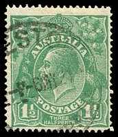 Lot 1443:1½d Green Die I - [17L28] Coloured flaw at highest point of right curve and coloured line to right of top left angle, loose corner perf.