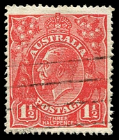 Lot 1580:1½d Red Die I - [17L28] Coloured flaw at highest point of right curve and coloured line to right of top left angle.