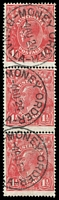 Lot 480:1½d Red Die I - [17R47,53,59] vertical strip of 3, unit 53 with Vertical white flaw on 5th bloom of left wattles etc - State I and unit 59 with Vertical curving scratch between 1 & ½ in right value tablet etc, 'MONEY ORDER/4AU24/BENALLA' (A2) cds cancel x3.