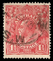 Lot 1819:1½d Red Die I - [18R6] Break in coloured oval above LI of ALIA - ACCC State I.