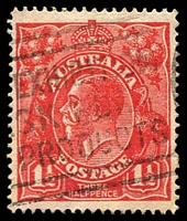 Lot 1645:1½d Red Die I - [18R8] Small notch near point of right upper angle