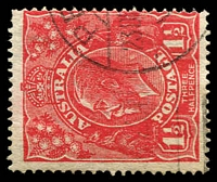 Lot 505:1½d Red Die I - [18R24] Front point of 2 in RVT extends downwards - ACCC State II - blurred flaw from back of King's neck to emu's foot.
