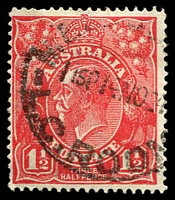 Lot 525:1½d Red Die I - BW #89(18)t [18R56] GE of POSTAGE joined, Cat $25, missing perf.