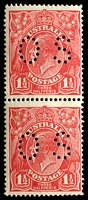 Lot 1432:1½d Red Die I - BW #89ba(24)h [24R5, 11] pair, unit 5 with Retouched shading to right of lower portion of right wattles, perf 'OS', Cat $50+, lower unit with tone spot on back.
