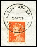 Lot 728:Albion Park Rail: - 'ALBION PARK RAIL/24JY78/NSW-AUST' on 6c QEII.  RO 1/4/1927; PO 1/7/1927.