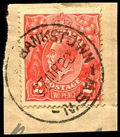 Lot 736:Bankstown: - '    BANKSTOWN/27MR22/N.S.W' ('CENTRAL' removed, ERD) on 2d red KGV.  PO 1/4/1863.