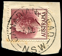 Lot 782:Canadian Lead - 'CANADIAN LEAD/3NO58/N.S.W.' (LRD) on 4d lake QEII.  PO 1/5/1872; TO 1/8/1960; closed 31/12/1961.