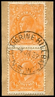 Lot 787:Catherine Hill Bay (2): - 'CATHERINE HILL BAY/4JA37/=N.S.W=' on ½d orange KGV pair.  PO 1/9/1889; closed 15/10/1993.