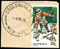 Lot 6700:Coolongolook: - 'COOLONGOLOOK/4JA80/NSW-AUST' on 20c Fishing.  PO 1/1/1878; closed 31/3/1980.