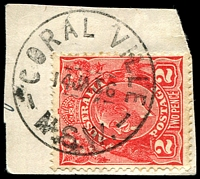 Lot 808:Coral Ville: - 'CORAL VILLE/14JA36/N.S.W.' on 2d red KGV.  Renamed from Big Swamp RO 17/5/1926; PO 1/7/1927; closed 30/6/1956.