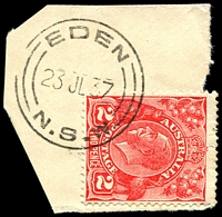 Lot 828:Eden: - 'EDEN/23JL37/=N.S.W=' on 2d red KGV.  PO 1/1/1847.