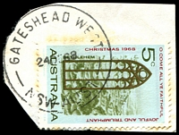 Lot 840:Gateshead West: - 'GATESHEAD WEST/24DE68/NSW-AUST' (LRD) on 5c Xmas (cut-to-shape). [Recorded use 1965-67.]  PO 1/10/1965; closed 31/7/1993.