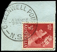 Lot 850:Greenwell Point: - 'GREENWELL POINT/9MY55/N.S.W' on 3½d red QEII.  TO 1/5/1878; PO 1/8/1879.