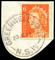 Lot 851:Greenwell Point: - 'GREENWELL POINT/23JE71/N.S.W' on 6c orange QEII.  TO 1/5/1878; PO 1/8/1879.