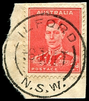 Lot 871:Ilford: - 'ILFORD/6JA41/N.S.W.' on 2d red KGVI (cut-to-shape).  Renamed from Keen's Swamp PO 1/3/1868; closed 29/10/1993.