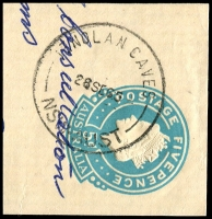 Lot 6948:Jenolan Caves: - 'JENOLAN CAVES/28SE65/NSW-AUST' on 5d cut-out.  TO 23/10/1886; PO 1/1/1889; closed 31/5/1984.