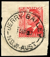 Lot 877:Jerry Bailey: - 'JERRY BAILEY/13MR50/NSW-AUST' (LRD) on 3d red KGVI.  Renamed from Shoalhaven Heads PO 1/6/1937; renamed Shoalhaven Heads PO 1/9/1953.